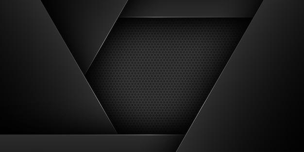 Zwarte abstracte achtergrond met overlappende kenmerken Premium Vector