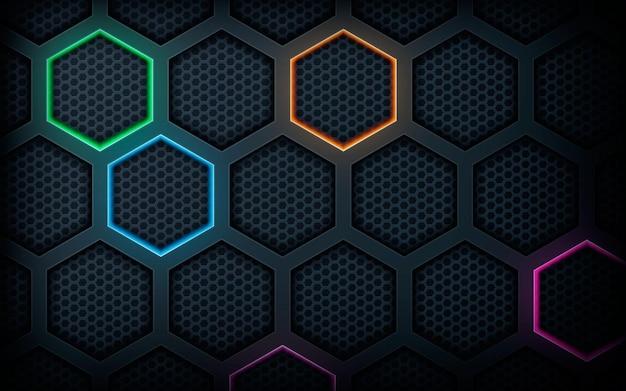 Zwarte abstracte achtergrond zeshoek kleurrijke lichte decoratie