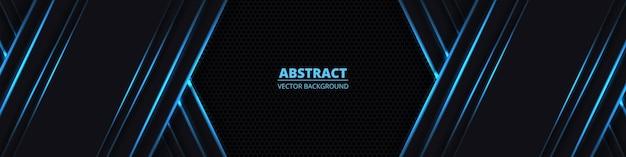 Zwarte abstracte brede horizontale achtergrond met blauwe neonlijnen