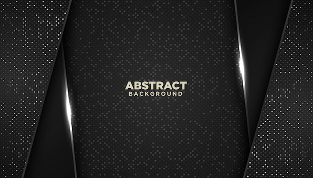 Zwarte abstracte geometrische achtergrond met glitters stippen element decoratie