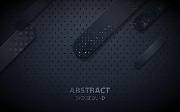 Zwarte abstracte geometrische realistische decoratie Premium Vector