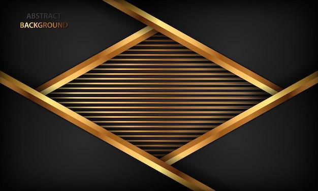 Zwarte abstracte papercut luxe achtergrond met gouden decoratie Premium Vector