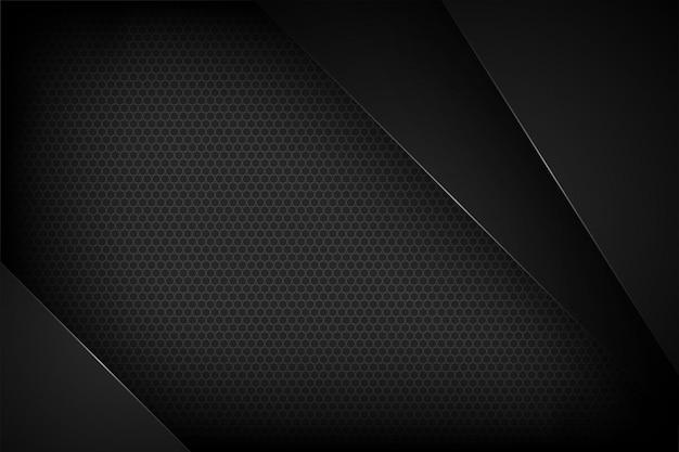 Zwarte abstracte vectorachtergrond met overlappende kenmerken.