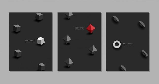 Zwarte achtergrond. abstracte realistische 3d, geometrisch