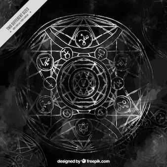 Zwarte achtergrond alchemie