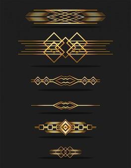 Zwarte achtergrond art deco frames