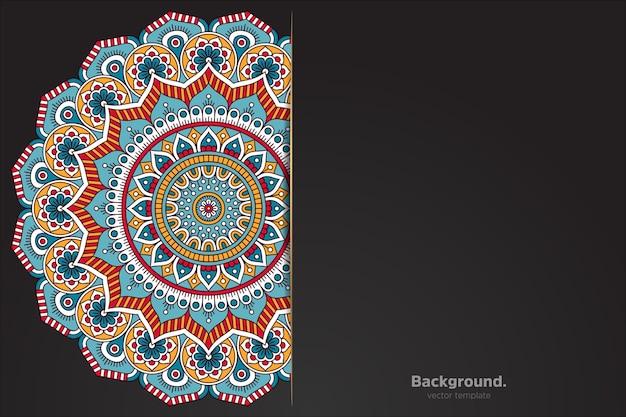 Zwarte achtergrond met abstracte oosterse mandala