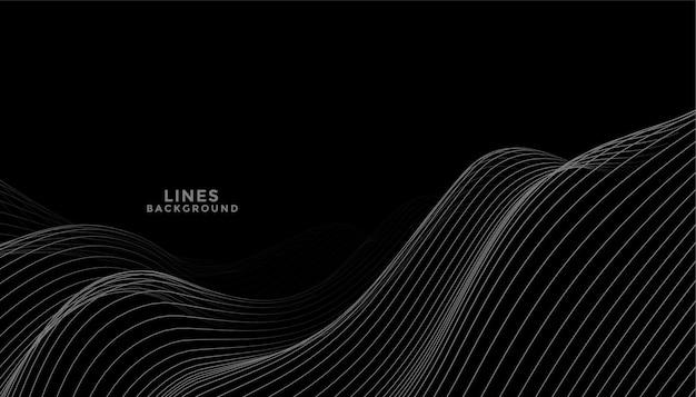 Zwarte achtergrond met donkergrijs golvend lijnenontwerp