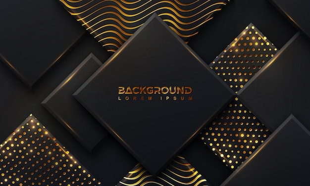 Zwarte achtergrond met een combinatie gloeiende gouden stippen en lijnen.