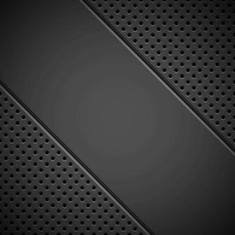 Zwarte achtergrond met geperforeerde textuur