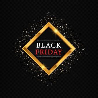 Zwarte achtergrond met gouden confetti voor zwarte vrijdag en grote verkopen