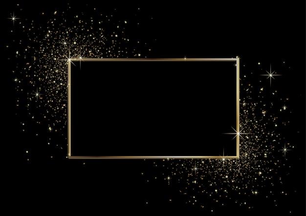 Zwarte achtergrond met gouden frame