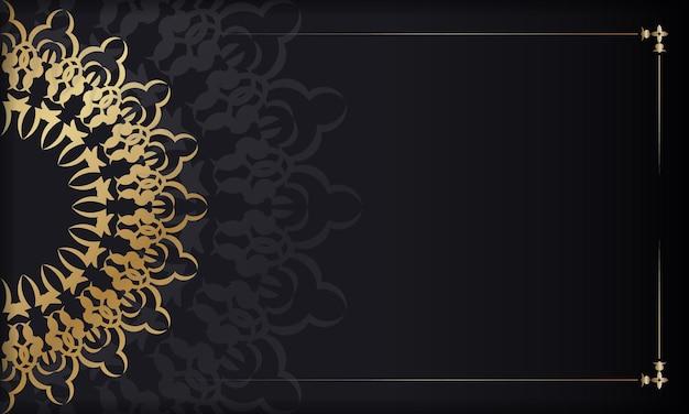 Zwarte achtergrond met gouden grieks patroon