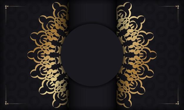 Zwarte achtergrond met gouden indiase ornament