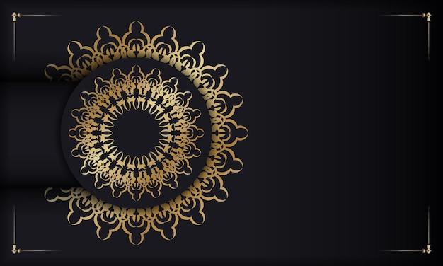 Zwarte achtergrond met gouden indiase patroon