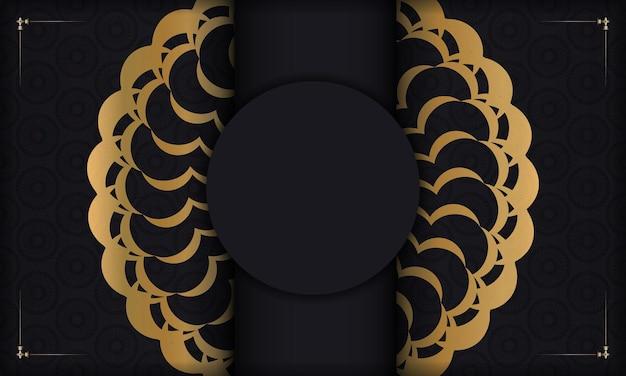 Zwarte achtergrond met gouden luxe patroon