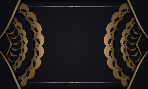 Zwarte achtergrond met gouden mandala-ornament