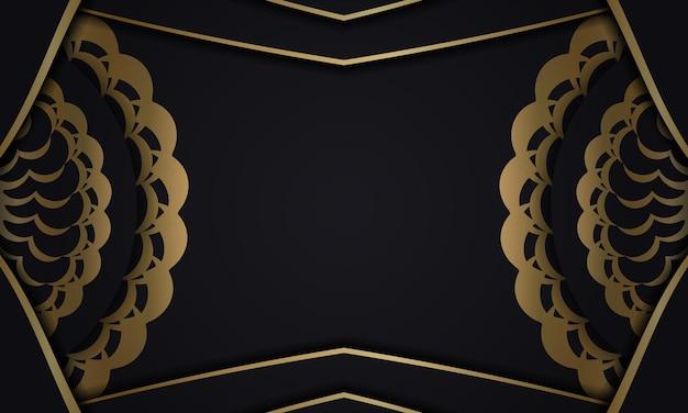 Zwarte achtergrond met gouden mandalapatroon