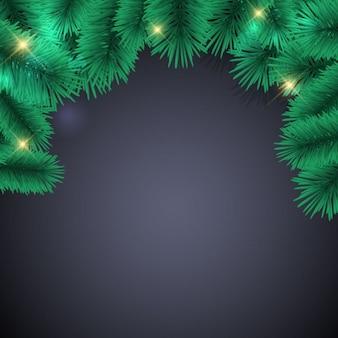Zwarte achtergrond met kerstverlichting en pin blad