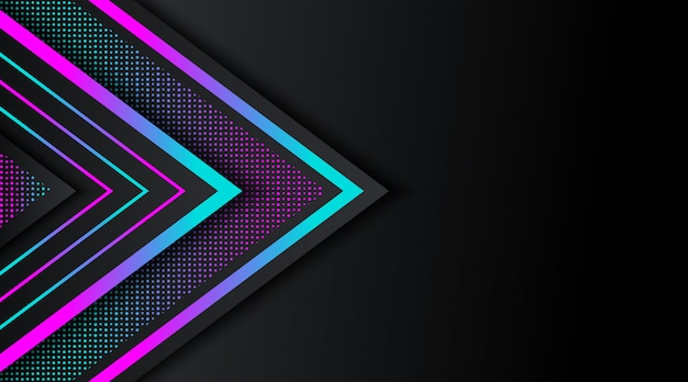 Zwarte achtergrond met kleurovergang neon glitter geometrische vorm
