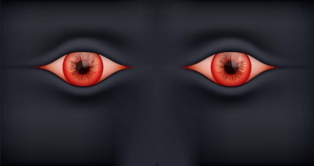 Zwarte achtergrond met menselijke rode ogen.