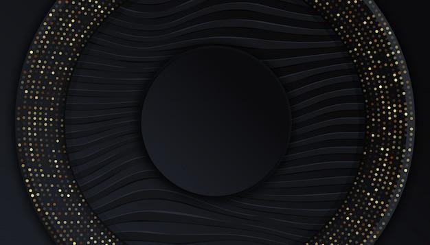 Zwarte achtergrond met overlappende lagen gouden lichte stippen