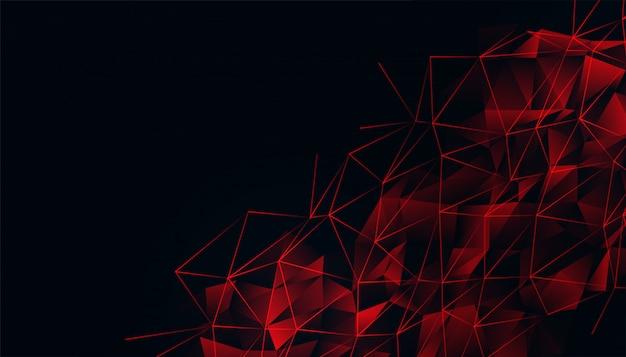Zwarte achtergrond met rood gloeiend laag polynetwerk