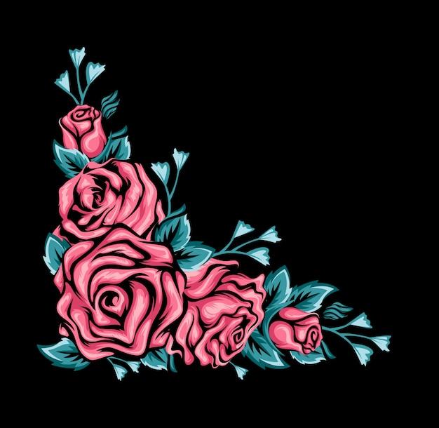Zwarte achtergrond met roze rozen en groene bladeren