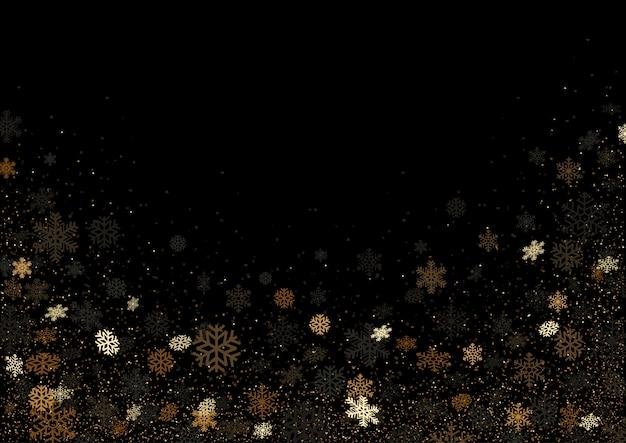 Zwarte achtergrond met vallende gekleurde sneeuwvlokken