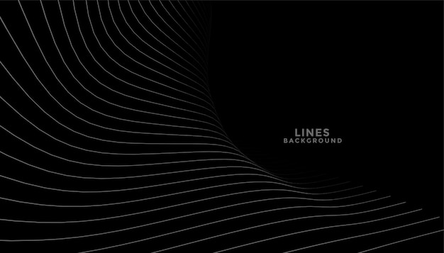 Zwarte achtergrond met vloeiende curve lijnen ontwerp