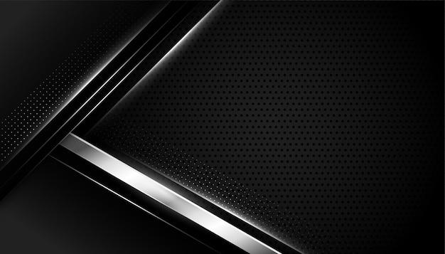 Zwarte achtergrond met zilveren geometrische vormen