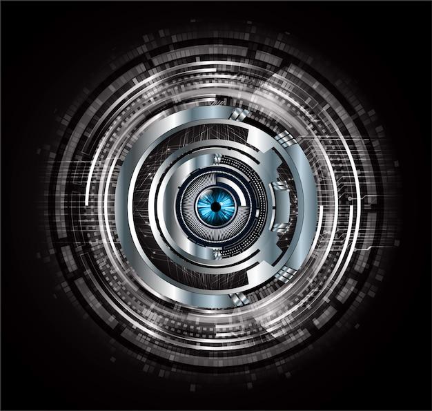 Zwarte achtergrond van het de technologieconcept van de oog cyber kring de toekomstige
