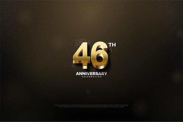 Zwarte achtergrond voor de 46e verjaardagsviering met in reliëf gemaakte gouden cijfers