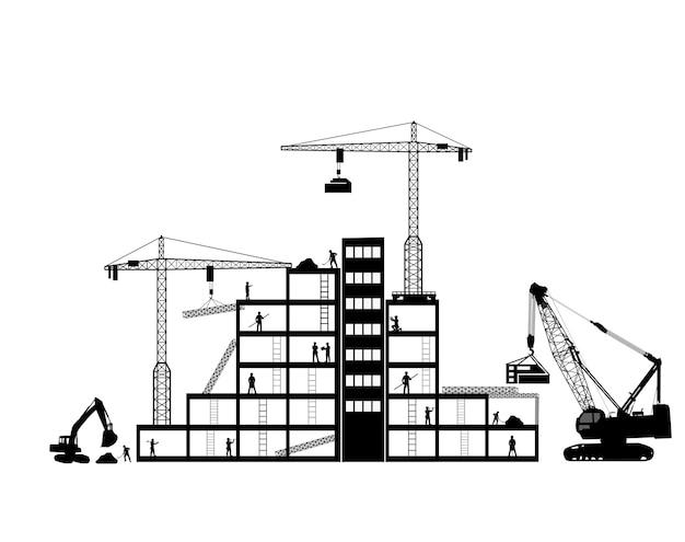 Zwarte achtergrondconstructiepictogrammen die op grijs worden geplaatst
