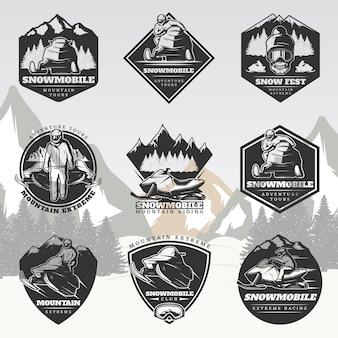 Zwarte actieve vrijetijdsbesteding vintage logo's set