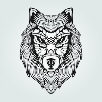 Zwarte advertentie witte lijn kunst van wolf met decoratief gezicht