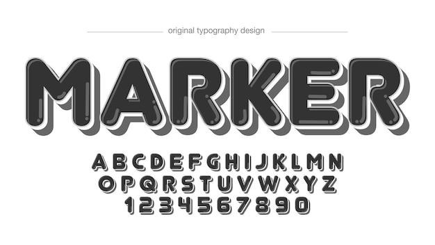 Zwarte afgeronde cartoon markt typografie