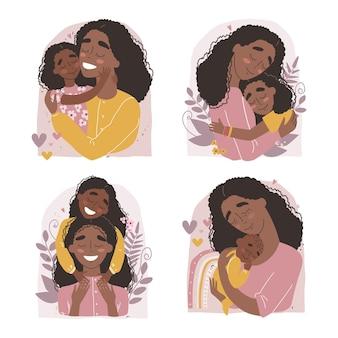 Zwarte afro-amerikaanse moeder knuffelt baby