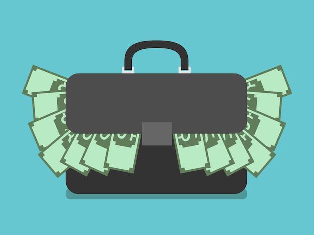 Zwarte aktetas gevuld met dollars. koffer vol geld. platte stijl. rijkdom, succes, investeringen, bedrijfsconcept. eps 8 vectorillustratie, geen transparantie