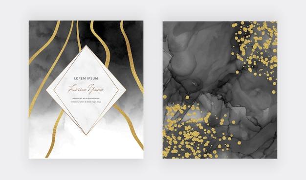Zwarte alcohol inkt textuur met gouden confetti, lijnen en marmeren frame