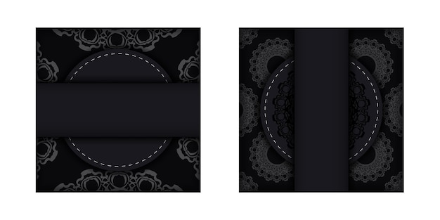 Zwarte ansichtkaart met een abstract patroon voor uw felicitaties.
