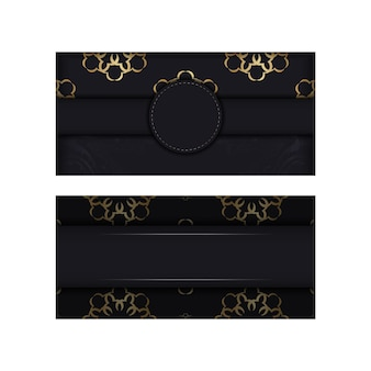 Zwarte ansichtkaart met gouden indiase ornament
