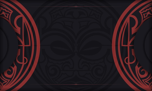 Zwarte ansichtkaart met maori god masker vintage ornamenten en plaats voor uw tekst en logo.
