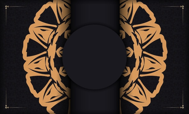 Zwarte ansichtkaart met vintage ornamenten en plaats voor uw logo. afdrukbare achtergrond ontwerpsjabloon met luxe ornament.