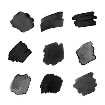 Zwarte aquarel penseelstreek collectie