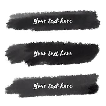 Zwarte aquarel penseelstreken texturen