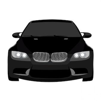 Zwarte auto vectorillustratie geïsoleerd op een witte achtergrond volledige bewerkbaar