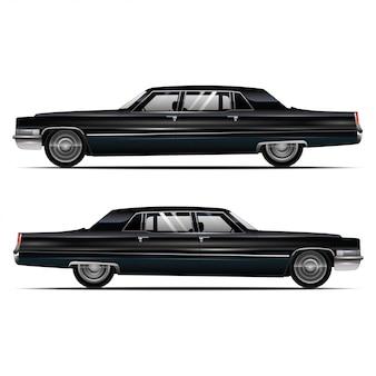 Zwarte auto zijaanzicht