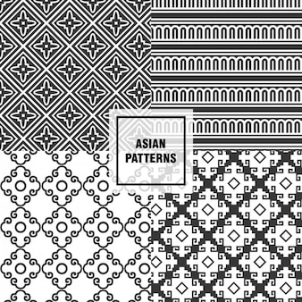 Zwarte aziatische patronen