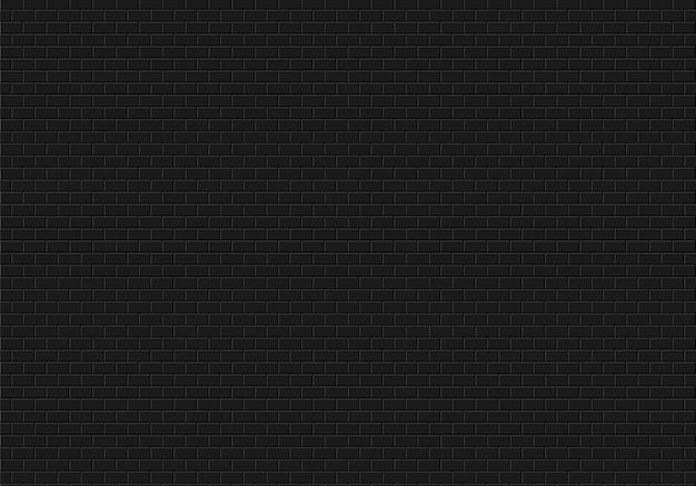 Zwarte bakstenen muurachtergrond. bakstenen textuur naadloze patroon vector.